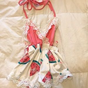 Other - Watermelon lace baby romper 12-18m